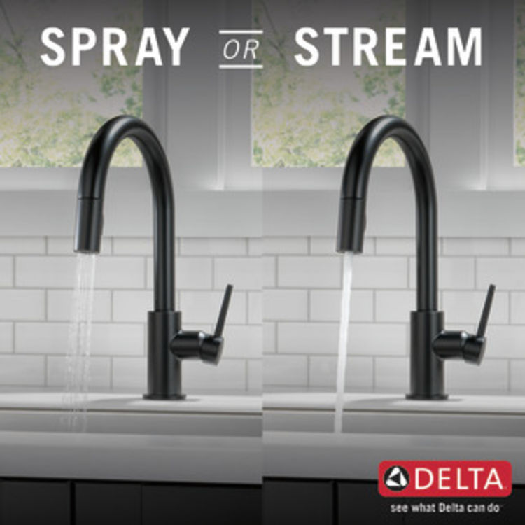 View 5 of Delta 9159-BL-DST Delta 9159-BL-DST Trinsic Single Handle Pull-Down Kitchen Faucet, Matte Black