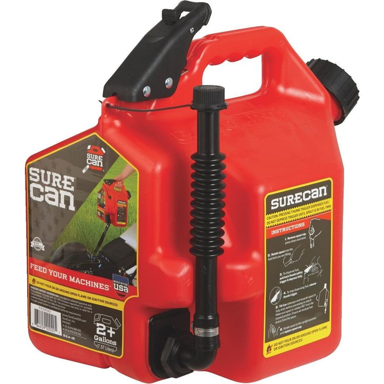 View 3 of SureCan SUR22G1 SureCan 2.2 Gallon Red Gas Can for Gasoline - SUR22G1