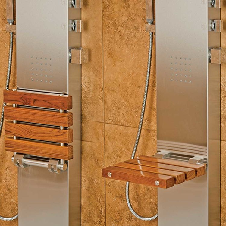 View 3 of Pulse 1035 Pulse 1035 Oahu ShowerSpa w/ Folding Teak Wood Seat, Brushed Stainless Steel