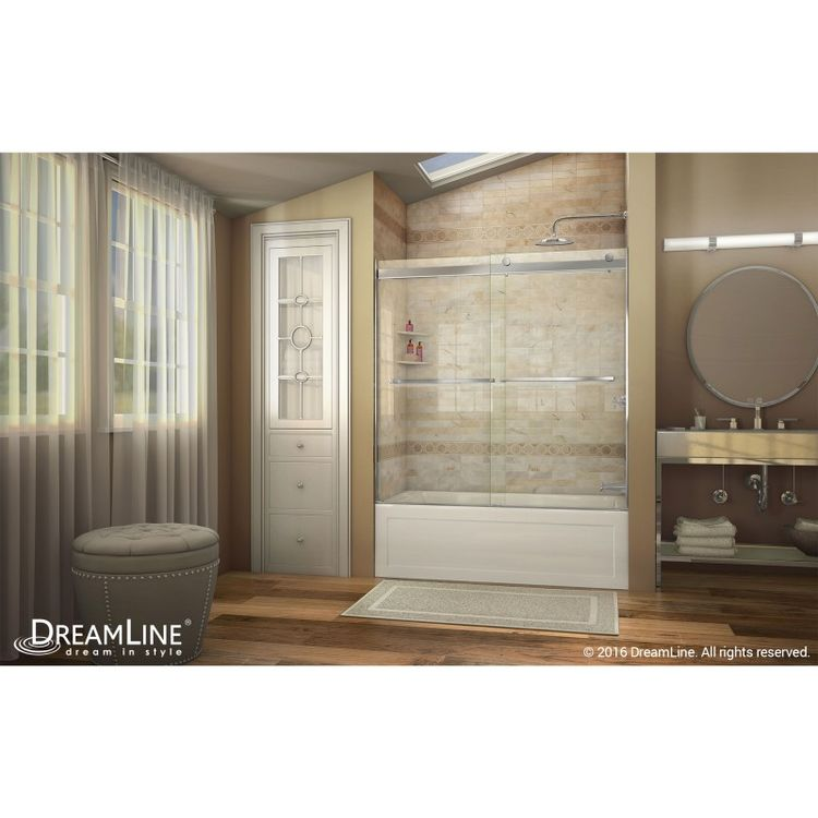 Dreamline SHDR-6360600-04 Brushed Nickel Sliding Tub Door with Clear ...