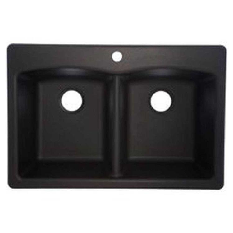 View 2 of Franke EDOX33229-1 Franke Consumer EDOX33229-1 Kitchen Sink, 22 in H X 33 in W X 9 in D, Composite Granite, Onyx