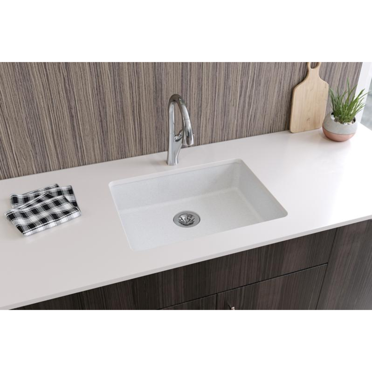 View 4 of Elkay ELGUAD2519PDWH0 Elkay  ELGUAD2519PDWH0 Quartz Classic Single Bowl Undermount ADA Sink with Perfect Drain, 25