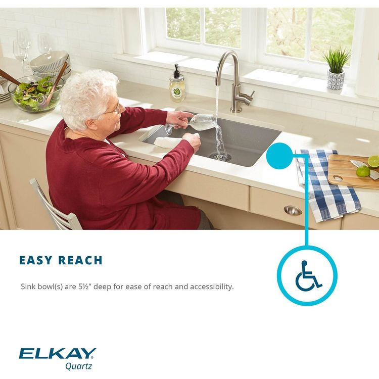 View 9 of Elkay ELGUAD2519PDWH0 Elkay  ELGUAD2519PDWH0 Quartz Classic Single Bowl Undermount ADA Sink with Perfect Drain, 25