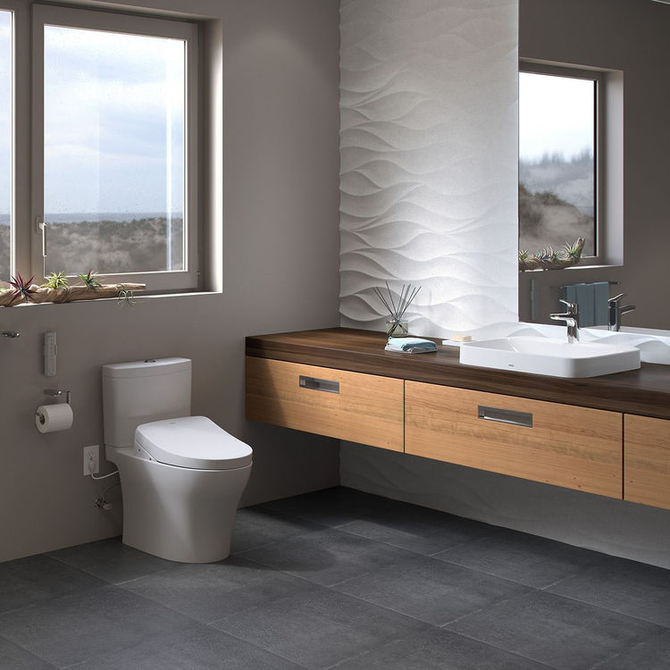 View 5 of Toto MW4463046CEMGA#01 TOTO Aquia IV WASHLET+ S500e Two-Piece Toilet - 1.28 GPF & 0.8 GPF - Cotton White - MW4463046CEMGA#01