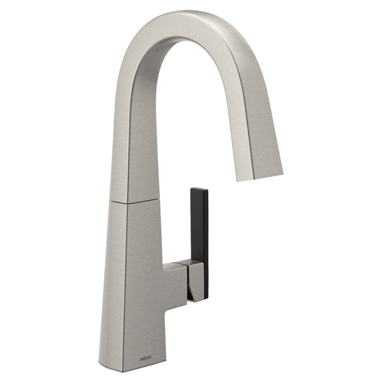 View 3 of Moen S55005SRS Moen S55005SRS Nio Single-Handle Bar Prep Faucet, Spot Resist Stainless (Handle Accent Included)