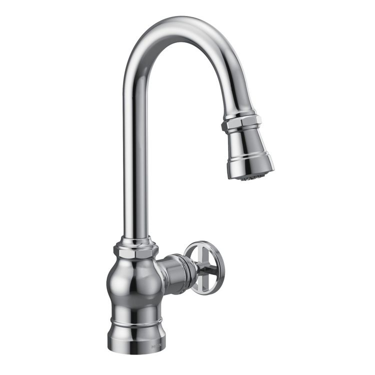 View 3 of Moen S52003 Moen S52003 Paterson Single-Handle Pulldown Bar/Prep Faucet - Chrome, Lever/Wheel Handles Included
