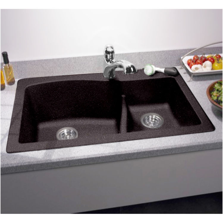 Swanstone qzls 3322 077 nero 33 x22 undermount kitchen for Swanstone undermount sinks